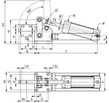 6825C Didelio pajėgumo pneumatinė užspaudimo rankenėlė