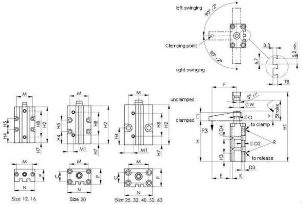6829BR_BL Pasisukanti, pneumatinė užspaudimo rankenėlė, kvadratinė versija