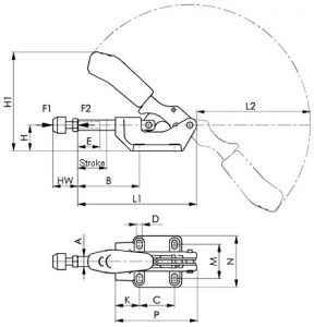 6842 AMF Stūmimo-traukimo užspaudimo rankenėlė